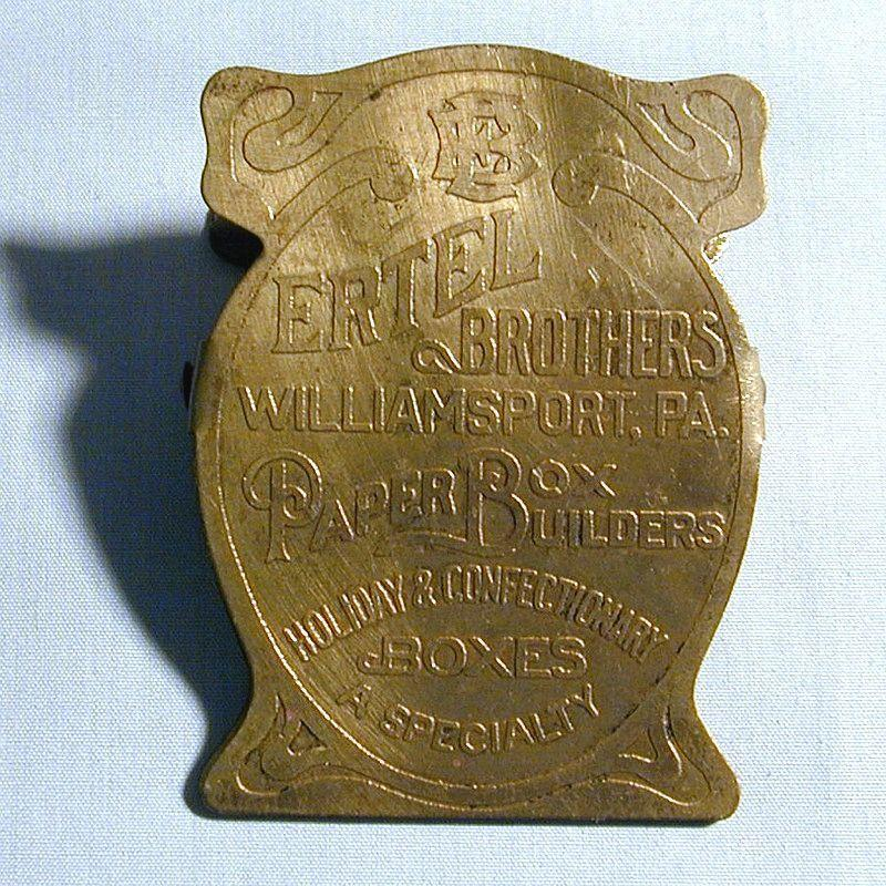 SOLD - Antique Victorian Brass Advertising Desk Wall Paper Clip ERTEL BROS. PA.
