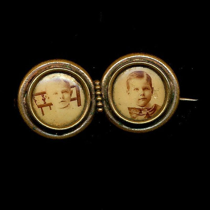 Antique Victorian Double Photo Pin - Two Adorable Children