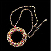 Big Ring of AB Crystal Rhinestones Pendant Necklace