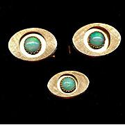 Vintage 14K Gold Cufflinks & Tie Tack Set w/ Australian Opals