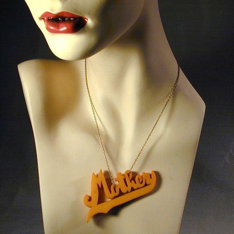 Old 1930s Big Bakelite Carved ~ MOTHER ~ Pendant