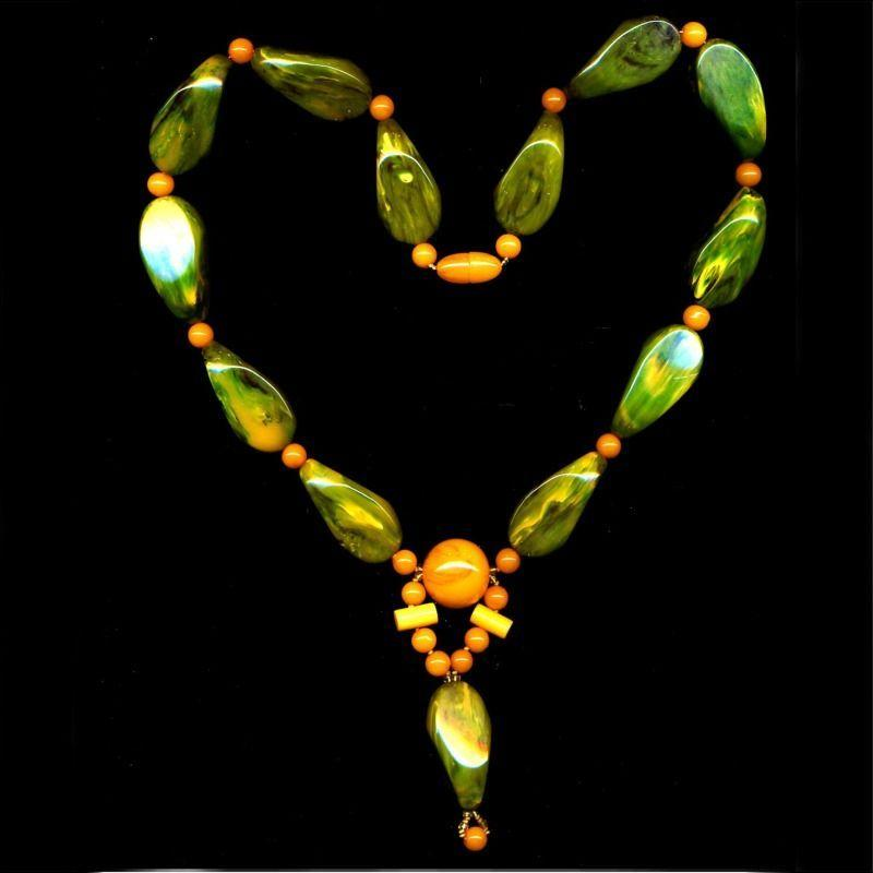 Big Old Genuine Bakelite Bead Necklace Two Colors One Great Look