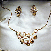 1940s Vintage Gold-Filled Rhinestones Necklace & Earrings Set in Orig. Box