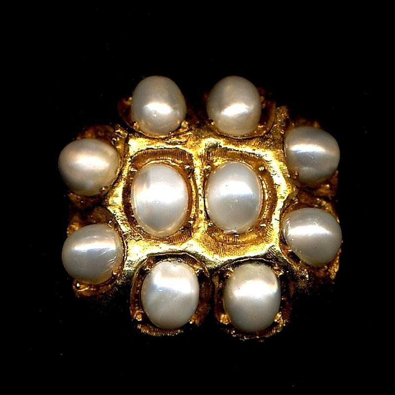 Vintage CAPRI Big Faux Pearls Pin w/ Orig. Tag 1960s