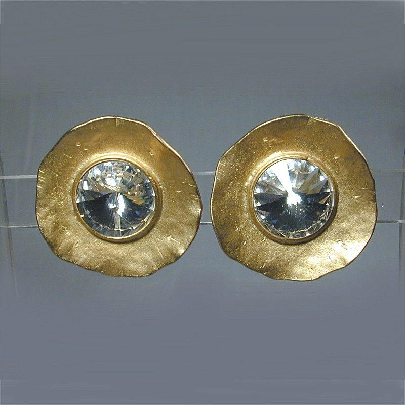 Vintage NORMA JEAN Bombshell Rhinestone Clip Earrings