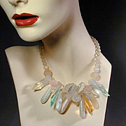 Turn-Me-Lucite Vintage Dangles Cluster Necklace