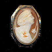 c1930 Art Deco 14K White Gold Carved Shell Cameo Pin Pendant