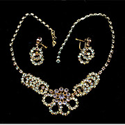 Gorgeous Sparkly Aurora Borealis Rhinestone Necklace & Earrings Set