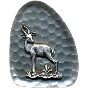 Vintage Sterling Silver Hand-Hammered Pin - South Africa - Gazelle
