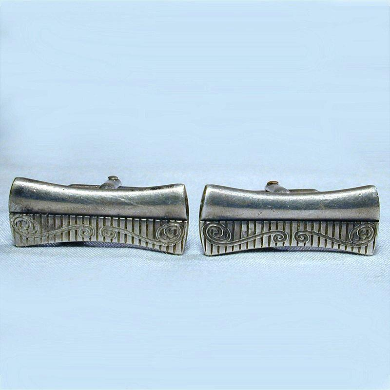 Mid-Century Sterling Silver ANSON Sleek Slim Cufflinks
