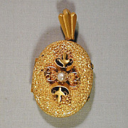 Nice Big Fancy Schmancy Antique Gilded Brass Locket Pendant