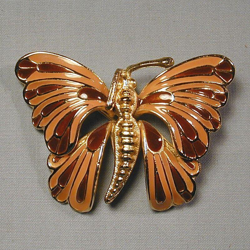 Christian Dior Germany Enamel Goldtone BUTTERFLY Pin