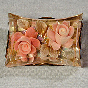 Thick Chunky 1940s Lucite Pin w/ Encased Flowers