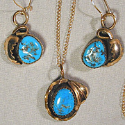 Navajo Paul Frank Sterling & Turquoise Pendant - Earrings Set w/ Gilt