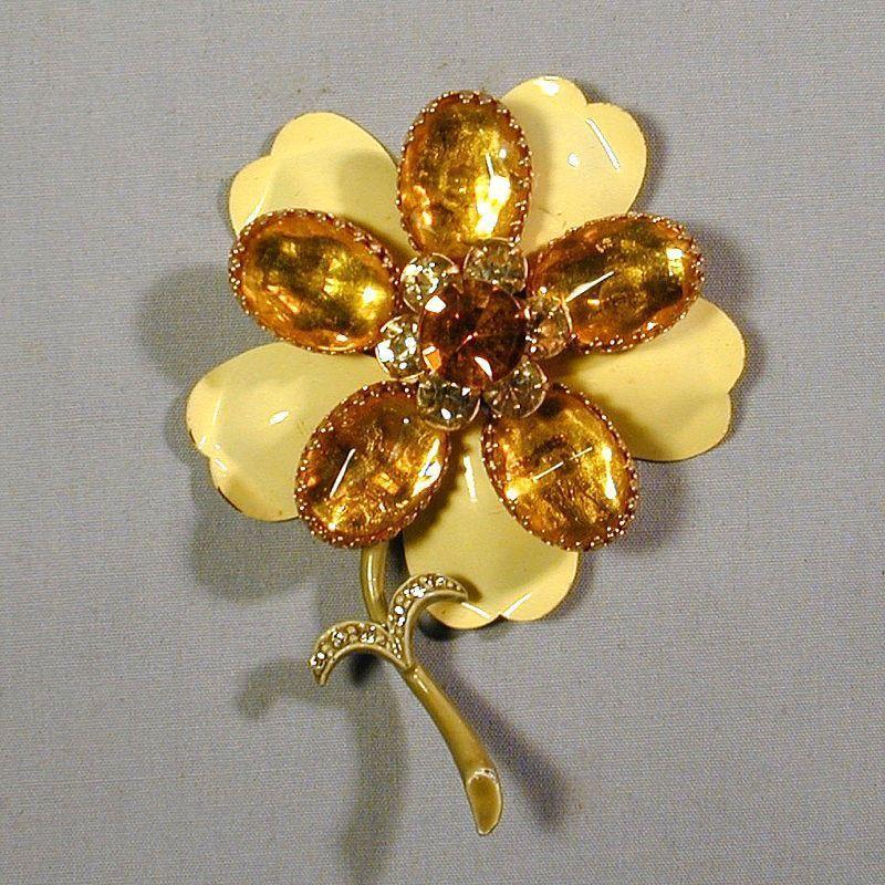 Vintage Layered Yellow Rhinestone & Enamel Flower Pin