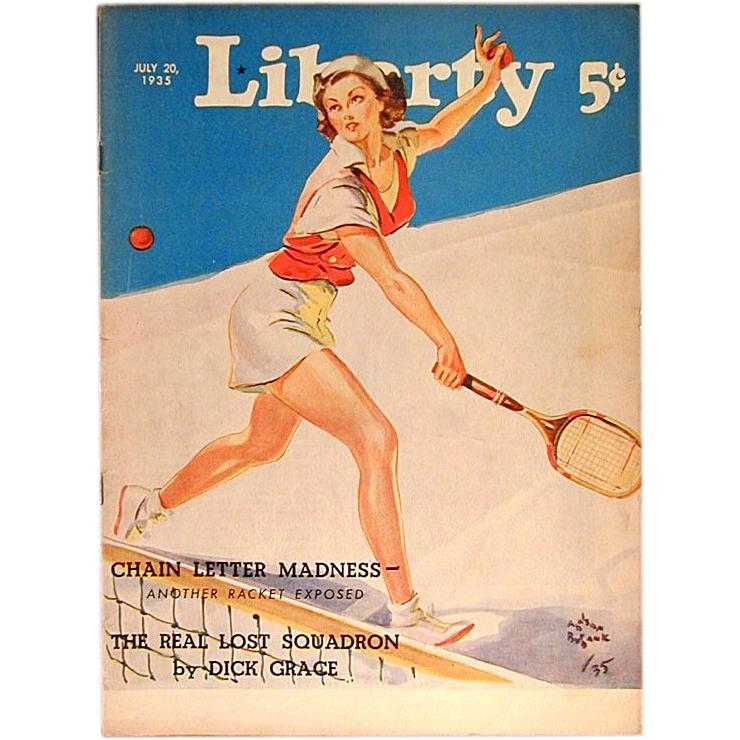 July 1935 LIBERTY Magazine w/ Tennis Player Cover Art - No Label