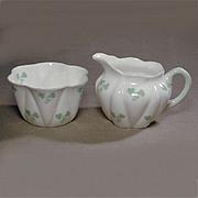 Vintage Shelley Shamrock Dainty Shape Sugar Bowl & Creamer