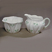 Vintage Shelley Shamrock Dainty Shape Sugar Bowl & Creamer