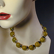 Vintage Great Big Balls of Sour Green Bakelite Choker Necklace