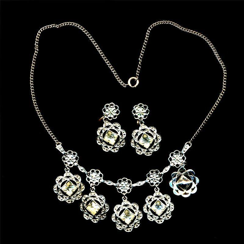 1920s French Paste Sterling Silver Necklace & Earrings Set Art Deco Era