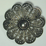 Mid-Century JO MICHELS Sterling Silver Wirework Pin Brooch - Intricate