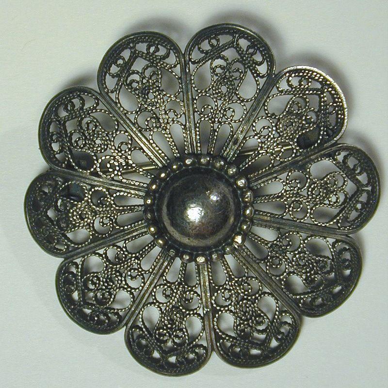 Mid-Century JO MICHELS Sterling Silver Wirework Pin Brooch - Intricate