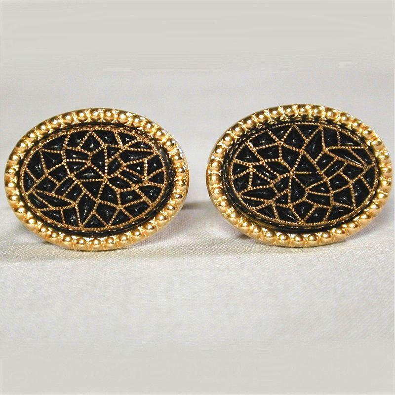 Vintage Signed Emmons Etched Black Glass Cufflinks