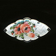 Vintage Norway Sterling Silver Guilloche Enamel ROSES Pin Brooch