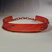 Great 1950s Vintage Faux Tortoise Lucite Belt w/ Goldtone Studs