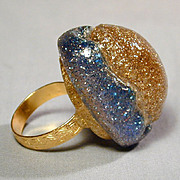 Vintage Designer Lucite 'Glitter' Confetti Ring - Big Dome
