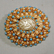 Big Dome Pin w/ Faux Pearls Turquoise Amethyst Jewels