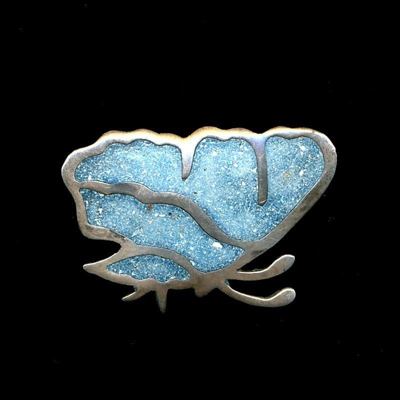 Taxco Bernice Goodspeed Inlaid Sterling Butterfly Pin