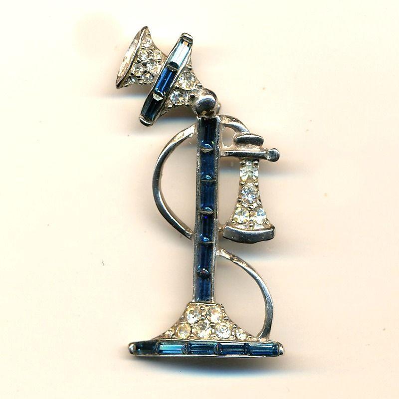 Vintage Rhinestone Candlestick Telephone Pin