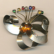 Art Deco Era Sterling Silver Rhinestone Flower Brooch Pin
