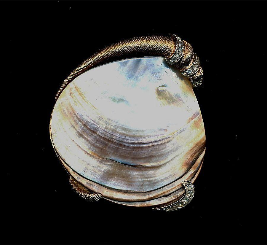 Corocraft Pearl Shell Brooch Pin Wrapped in Goldtone & Rhinestones
