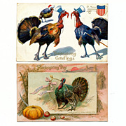 2 Thanksgiving Day Greetings Postcards - Victorian 1911 - Red Tag Sale Item