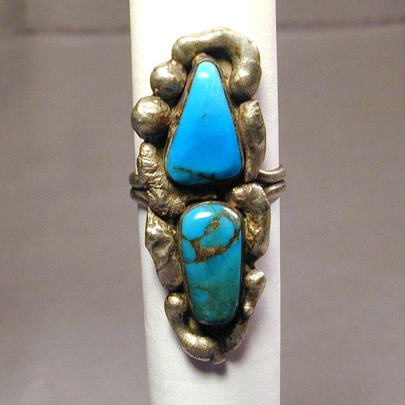 Signed Navajo Turquoise & Sterling Ring - Bessie Castillo