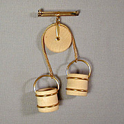 Fun 1940s Ye Olde Oaken Bucket Wood Pin Brooch