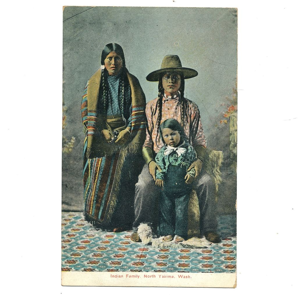 1907 Postcard Yakima Washington Indian Family Native American