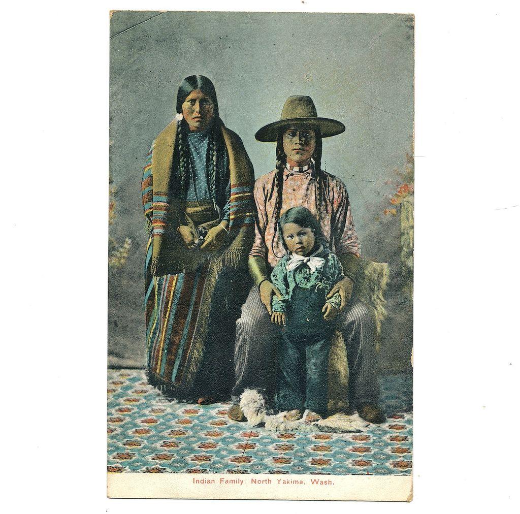 1907 Postcard Yakima Washington Indian Family Native American