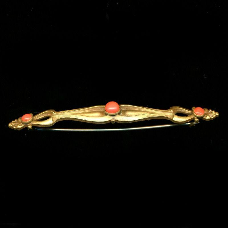 Antique Art Nouveau 4-Inch Bar Pin w/ Coral