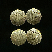 1920s Art Deco Solid 14K Gold Cufflinks - Etched & Elegant