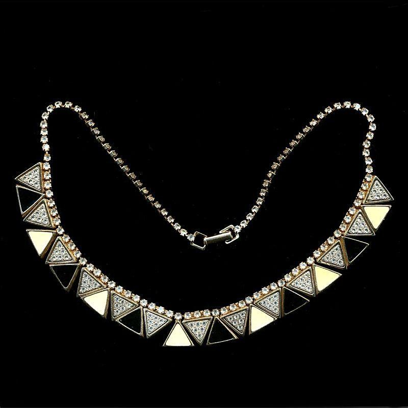 Vintage Art Deco Revival Necklace - Rhinestones & Enamel Geometrics