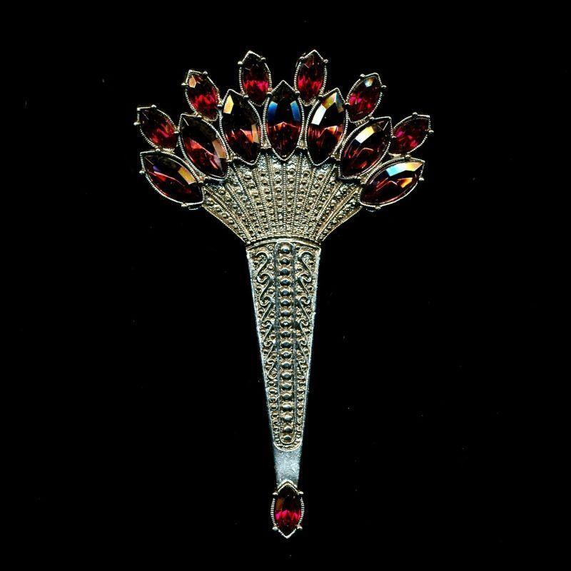 Big Art Deco Revival Rhinestone Fan Pin - Faux Amethyst & Ruby Glass