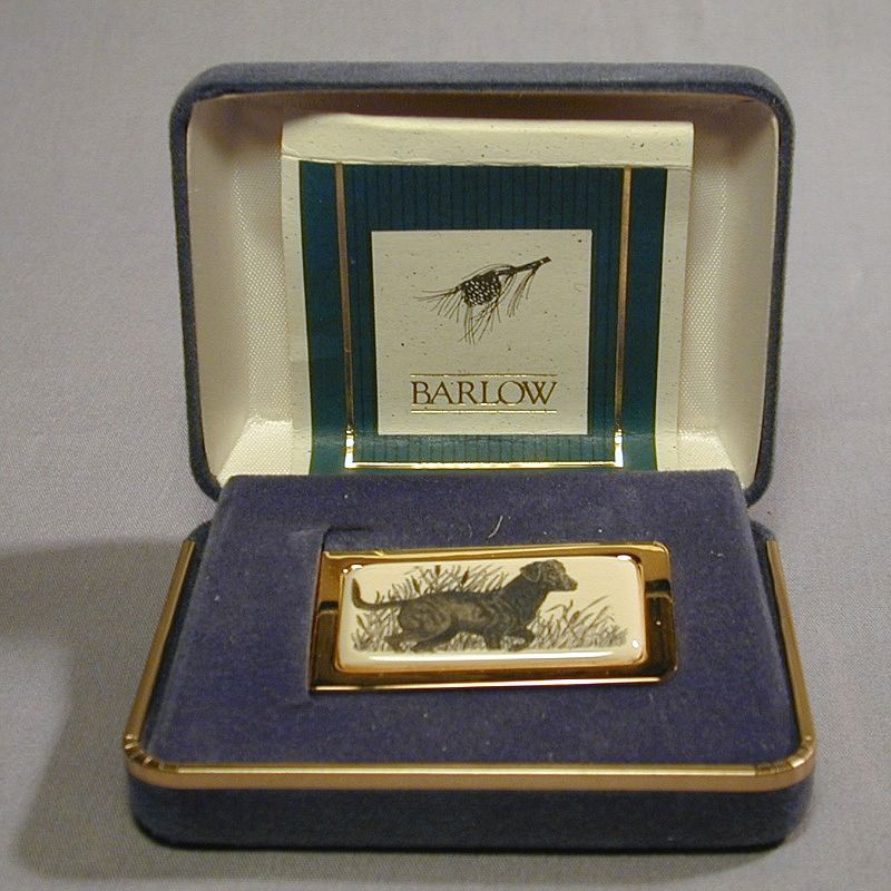 Vintage Barlow Faux Scrimshaw Money Clip - Hunting Dog