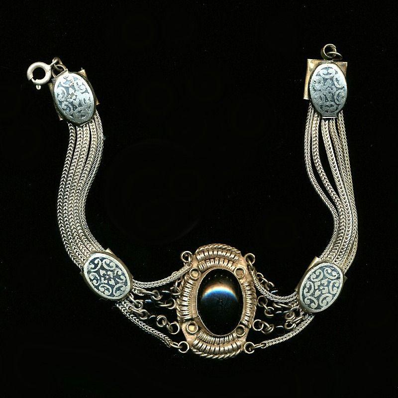 Vintage 900 Silver Bracelet w/ Black Onyx Exotic Wirework
