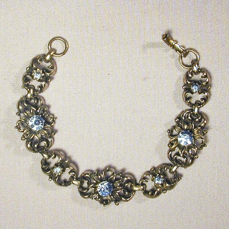 Vintage CORO Link Bracelet w/ Baby Blue Rhinestones