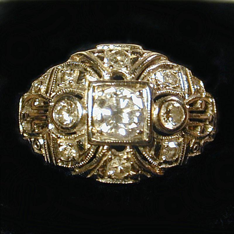 SOLD - Divine Art Deco 14K Two-Tone Gold & Diamond Ring