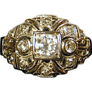 SOLD - Divine Art Deco 14K Two-Tone Gold & Diamond Ring