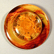 Big Bakelite Applejuice Reverse-Carved Pin Brooch - Book Piece